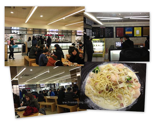 หน้าตาศูนย์อาหารในตึก 학생회관/학관 (Student council) ครับ เมนูอาหารก็หลากหลาย ตั้งแต่อาหารเกาหลี ไปจนถึงสปาเกตตี้ สเต๊ก พิซซ่า ราคาอยู่ที่ประมาณ 3000~6000 วอนครับ