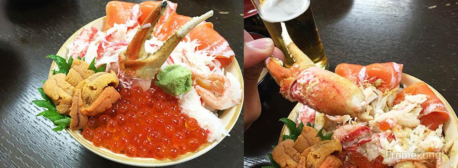 มาแล้วครับ Kaisendon กับเมนูที่ฮิตที่สุดของร้าน แนะนำให้สั่งเบียร์ Sapporo มาดื่มด้วยสักแก้วจะฟิน แจ๋วมากเลยครับ เครื่องเคียงก็เป็นปลาหมึก กับซุปปลาร้อนๆ ฟินอย่างบอกไม่ถูกเลยครับ วิธีการทานก็ผสมวาซาบิกับโชยุพอประมาณ แล้วก็ราด คลุกกับข้าวครับ