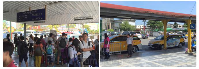 หน้าตาสถานี Hualien ที่เต็มไปด้วยนักท่องเที่ยว และแท็กซี่ที่มาจอดรอพร้อมพานำชมอุทยาน