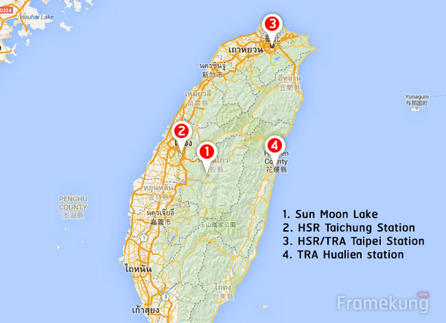 sunmoon-lake-to-hualien-route-map