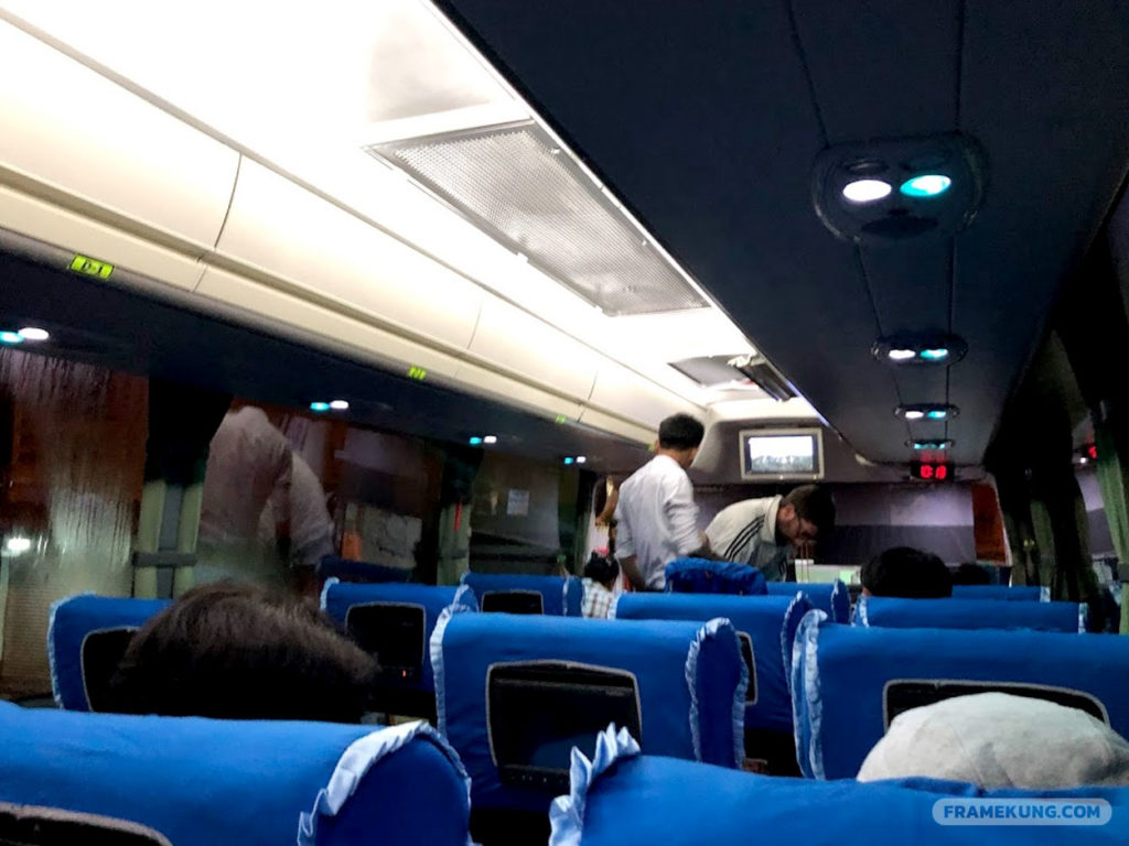 Entertainment facility on Elite Express Bus from Yangon to Mandalay