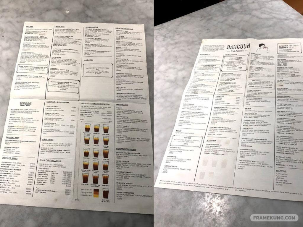 เมนูร้าน Yangon Tea House menu